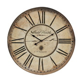 24in Wall Clock With Antique Cream Black Frame - MEK2054