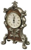 Desk Clock In Antique Silver And Chestnut - MEK2164