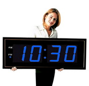 The Extra Large 8in Numbers Blue LED Wall Clock With Remote Control - NBG6150