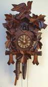 Authentic German Schonach 19In Bird & Leaves German Black Forest 1 Day Cuckoo Clock - NSC3656