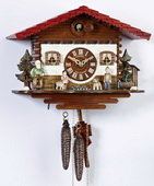 14In Grandfather Boy Dog Heidi Jumping Goat German Black Forest 1 Day Cuckoo Clock - NSC3392