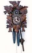 Authentic German Schonach 14In Leaves & Bird German Black Forest 1 Day Cuckoo Clock - NSC3680