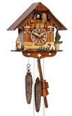 12In Wooden Hummel Style Girl Schneider German Black Forest 1 Day Cuckoo Clock - NSC3593