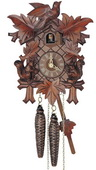 14In Carved Squirrels Schneider German Black Forest 1 Day Cuckoo Clock - NSC3626