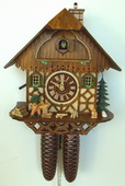 16In Moving Wood Chopper & Chimney Sweeper German Black Forest 8 Day Cuckoo Clock - NSC3425