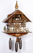 28In Moving Wood Sawers & Clock Peddler Schneider German 8 Day Cuckoo Clock With Music - NSC3044