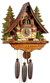Authentic German Schonach 22In Deer Rabbit Squirrel Black Forest 8 Day Cuckoo Clock Music - NSC3083