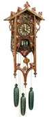 Authentic German Schonach 31in Wood Ornaments  8 Day Black Forest Cuckoo Clock With Music-NSC3152