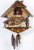 Authentic German Schonach 18in Musician Playing Accordian 1 Day Musical Black Forest Cuckoo Clock