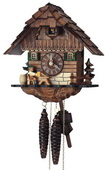 Authentic German Schonach 15in Beer Drinker 1 Day Chalet Black Forest Cuckoo Clock - NSC3545