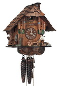 15in Wood Chopper & Owl 1 Day Chalet German Black Forest Clock by Schneider - NSC3458