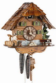 14.5in Wood Sawer with Moving Lumberjack 1 Day Chalet German Black Forest Cuckoo Clock - NSC3503