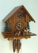 Authentic German Schonach 13.5in Moving Beer Drinker & Dog 1 Day Black Forest Cuckoo Clock -NSC3602