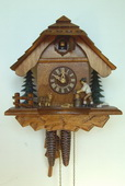 15in Wood Chopper & Cute Animal 1 Day Chalet German Black Forest Clock by Schneider - NSC3605