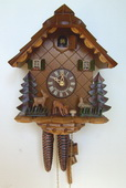 Authentic German Schonach 15in Cute Animals 1 Day Chalet Black Forest Cuckoo Clock - NSC3512