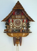 17.5in Beer Drinker & Cute Animal 1 Day Chalet German Black Forest Clock by Schneider - NSC3410