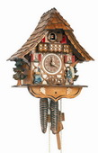 17.5in Moving Clockpeddler 1 Day Chalet German Black Forest Clock by Schneider - NSC3383
