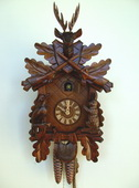 19in Hunting Scene & Animals  No posthorn1 Day German Black Forest Cuckoo Clock - NSC3614