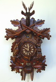 Authentic German Schonach 23.5in Hunting Scene & Animals 1 Day Black Forest Cuckoo Clock - NSC3518