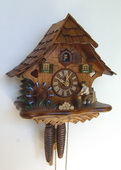 15.5in Wood Chopper 1 Day Chalet German Black Forest Clock by Schneider - NSC3515
