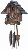 Authentic German Schonach 13in Beautiful Nice Cottage 1 Day Black Forest Cuckoo Clock - NSC3629