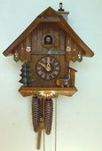 Authentic German Schonach 13in Chimney Sweep 1 Day Chalet Black Forest Cuckoo Clock - NSC3623