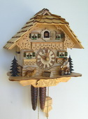 Authentic German Schonach 15in Cute dog & Wood Chopper 1 Day Black Forest Cuckoo Clock - NSC3467