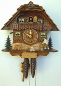 Authentic German Schonach 15in Dog & Wood Chopper 1 Day Chalet Black Forest Cuckoo Clock - NSC3470