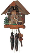 Authentic German Schonach 13in Cute Dog 1 Day Chalet Black Forest Cuckoo Clock - NSC3617
