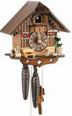 Authentic German Schonach 13in Girl & Animals 1 Day Chalet Black Forest Cuckoo Clock - NSC3599