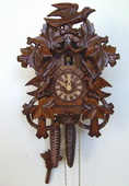 15.5in Birds & Leaves 1 Day Traditional German Black Forest Clock by Schneider - NSC3644