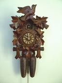 Authentic German Schonach 19in Birds & Leaves 8 Days Black Forest Cuckoo Clock - NSC3563