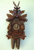 21in Hunting Scene & Animals 8 Days Traditional German Black Forest Clock by Schneider - NSC3473