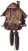 Authentic German Schonach 17in Wood Chopper & Owl 8 Days Chalet Black Forest Cuckoo Clock - NSC3359