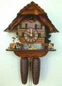 14.5in Wood Sawer with Moving Lumberjack 8 Days Chalet German Black Forest Cuckoo Clock - NSC3404