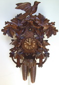 Authentic German Schonach 22in Birds & Leaves 8 Days Traditional Black Forest Cuckoo Clock - NSC3377