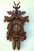 Authentic German Schonach 24in Hunting Scene & Animals 8 Day Black Forest Cuckoo Clock - NSC3422