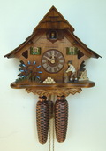 Authentic German Schonach 15.5in Wood Chopper 8 Days Chalet Black Forest Cuckoo Clock - NSC3434