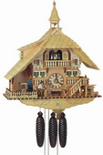 Authentic German Schonach 27in Wood Chopper Cute Dog 8 Day Musical Black Forest Cuckoo Clock-NSC3047
