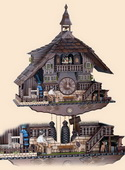 Authentic German Schonach 27in Wood Chopper &Animals 8 Day Musical Black Forest Cuckoo Clock-NSC3050