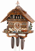 24in Fisherman & Cute Animal 8 Days Musical Chalet German Black Forest Clock by Schneider - NSC3059