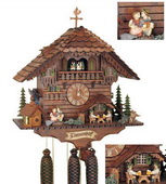 Authentic German Schonach 25in Beer Drinkers & Kissing Lovers 8 Day Music Black Forest Cuckoo Clock