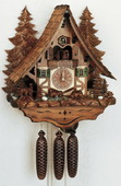Authentic German Schonach 23in Bears & Water Wheel 8 Day Musical Black Forest Cuckoo Clock -NSC3077