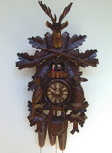 Authentic German Schonach 29in Hunting & Animals 8 day Musical Black Forest Cuckoo Clock - NSC3161
