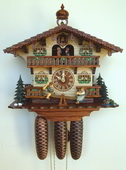 Authentic German Schonach 18in Boy & Girls 8 Days Musical Black Forest Cuckoo Clock - NSC3146