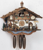 22in Beer Drinkers & Cute Dog 8 Days Musical German Black Forest Cuckoo Clock - NSC3041