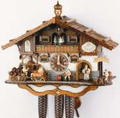 Authentic German Schonach 22in Beer Drinkers & Animal 8 Day Musical Black Forest Cuckoo Clock