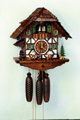 Authentic German Schonach 21in Wood Sawers & Dogs 8 Days Musical Black Forest Cuckoo Clock - NSC3116