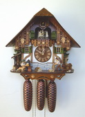 18in Woodchopper Woodsawer 8 Day Schneider Musical Chalet German Black Forest Clock - NSC3164