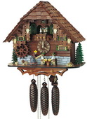 21in Beer Drinkers & Cute Dogs 8 Day Musical Chalet Black Forest Cuckoo Clock - NSC3101